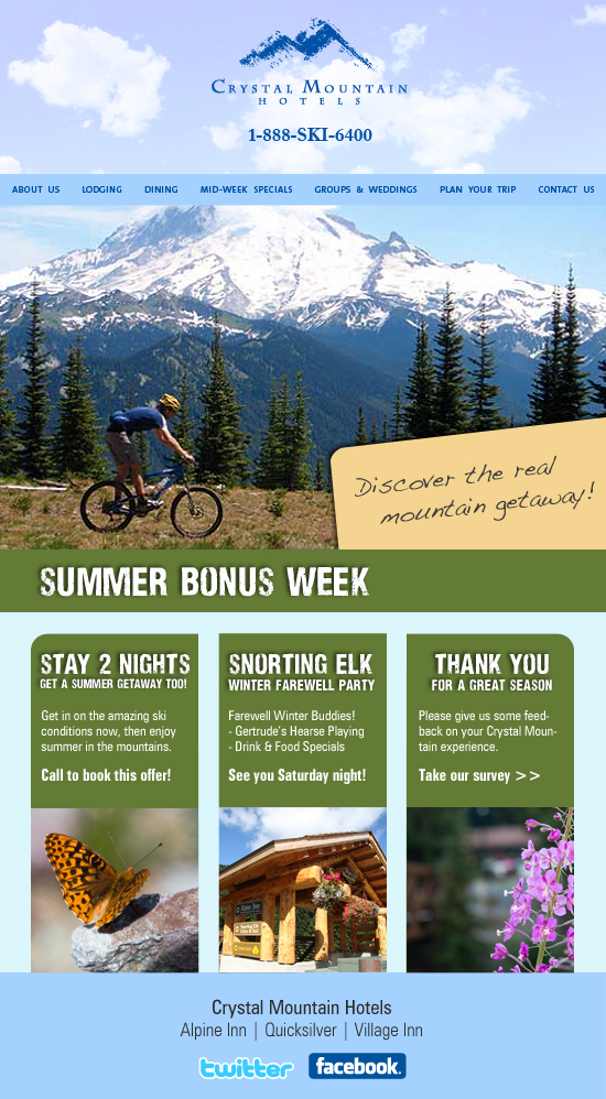 Email campaign for Crystal Mountain Hotels